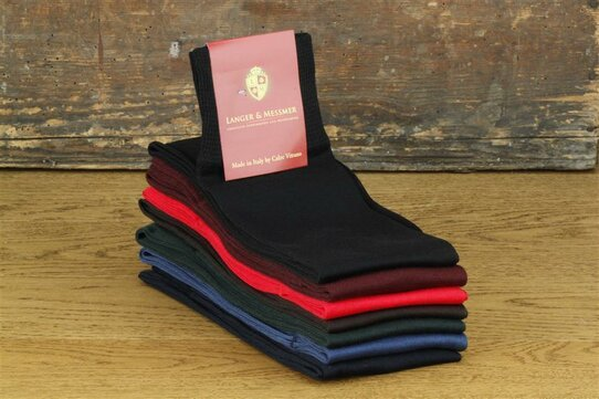 Langer & Messmer Knee-Length Socks Filoscozia Black UK Size 9.5-10.5