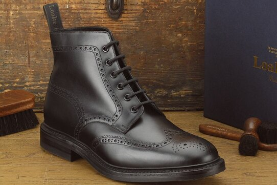 Loake Wolf Black Goodyear Welted Rubber Soles