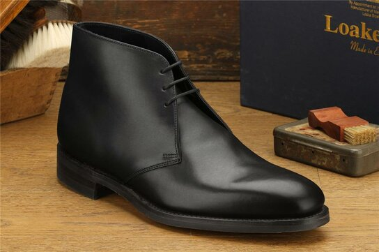 Loake Pimlico Black Goodyear Welted Rubber Soles