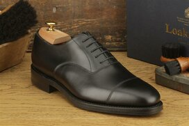Loake Aldwych Black Size UK 9.5 Goodyear Welted Rubber Soles