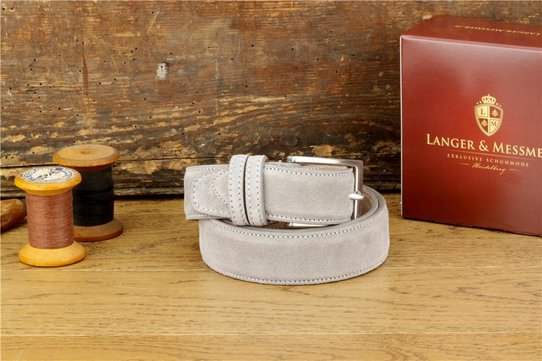Langer & Messmer Mens Belt Limone Grey Suede