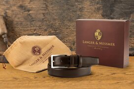 Langer & Messmer Mens Belt Heidelberg Dark Brown