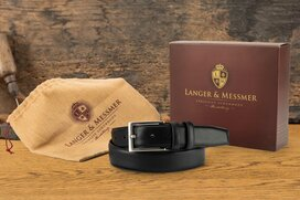 Langer & Messmer Mens Belt Heidelberg Dark Blue