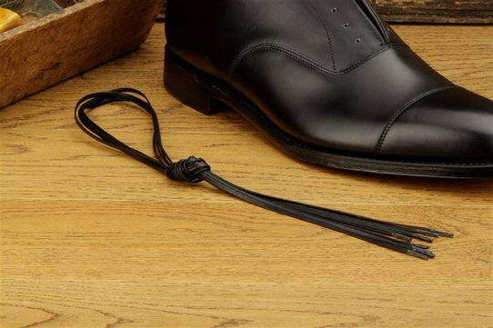 2 Pair Flat Waxed Cotton Laces, 80 cm black