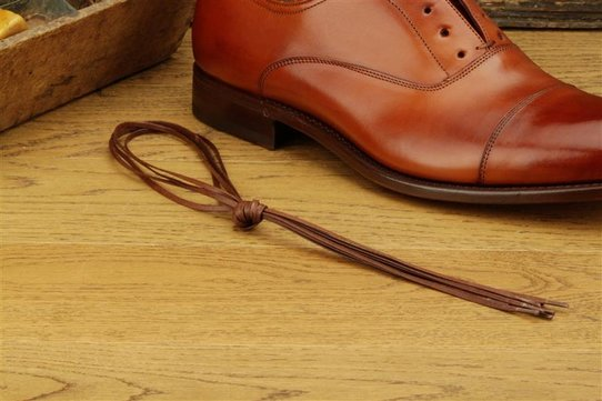 2 Pair Flat Waxed Cotton Laces, 80 cm brown