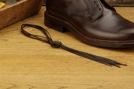2 Pair Flat Waxed Cotton Laces, 80 cm dark brown