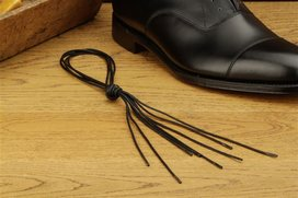 2 Pair Round Waxed Cotton Laces, 80 cm black