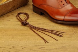 2 Pair Round Waxed Cotton Laces, 80 cm brown