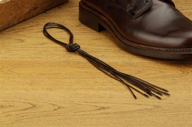 2 Pair Round Waxed Cotton Laces, 80 cm dark brown