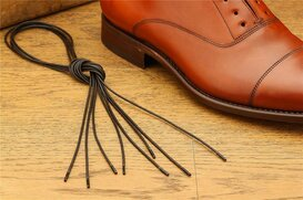2 Pair Round Waxed Cotton Laces, 75 cm dark brown