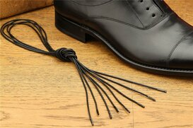 2 Pair Round Waxed Cotton Laces, 75 cm black