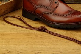 2 Pair Round Waxed Cotton Laces, 110 cm  brown