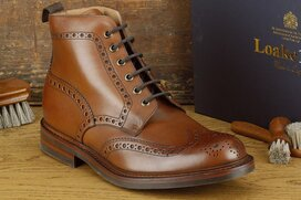Loake Bedale Brown Size UK 8 Goodyear Welted Rubber Soles
