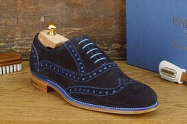 Barker Grant Grant Dark Blue Suede Goodyear Welted