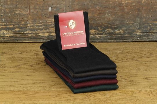 Langer & Messmer Mens cotton Knee-Length Socks Bordeaux UK Size 7.5-8