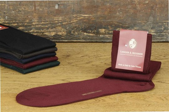 Langer & Messmer Mens cotton Knee-Length Socks Bordeaux UK Size 9.5-10.5