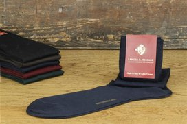 Langer & Messmer Mens Cotton Knee-Length Socks Dark Blue
