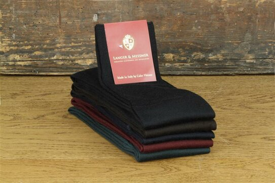 Langer & Messmer Mens Merino Knee-Length Socks Bordeaux UK Size 9.5-10.5