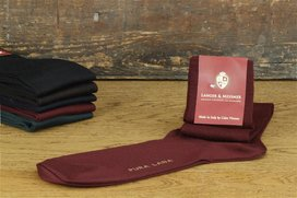 Langer & Messmer Mens Merino Knee-Length Socks Bordeaux...
