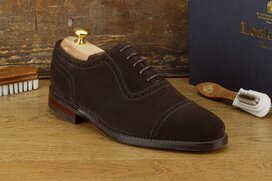 Loake Fleet Dark Brown Suede Size UK 10.5 Goodyear Welted...