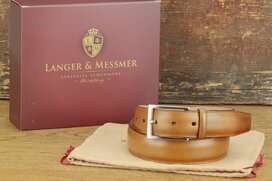 Langer & Messmer Mens Belt Granada Tan - Size 38