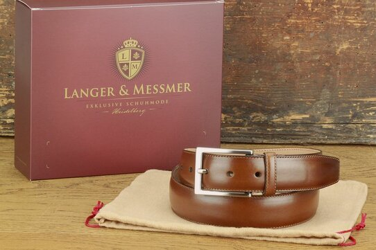 Langer & Messmer Mens Belt Granada Mahogany