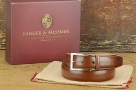 Langer & Messmer Mens Belt Granada Mahogany - Size 34