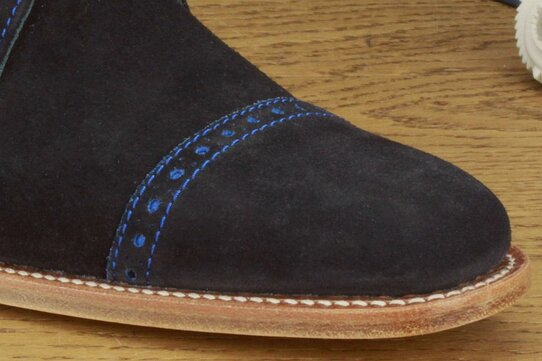 Barker Ashton Navy Blue Suede Size 11 Goodyear Welted