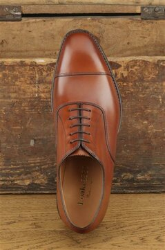 Loake Aldwych Mahogany Goodyear Welted Rubber Soles Wide Fit