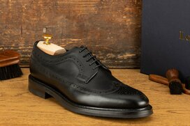 Loake Birkdale Black Goodyear Welted Rubber Soles 8